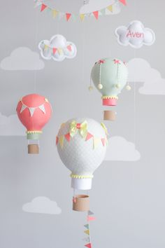 Hot air balloon baby mobile, travel theme, nursery decor, mint and coral balloon mobile, i126 by sunshineandvodka on Etsy