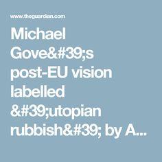 Michael Gove's post-EU vision labelled 'utopian rubbish' by Angela Eagle Angela Eagle, Secretary, The Guardian, Politics, Fine Art, Face, Self