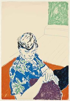 David Hockney (British, b. 1937), Joe with Green Window, 1979. Lithograph in colours on Rives BFK paper. Sheet: 44¼ x 30 in. Numbered 44/54