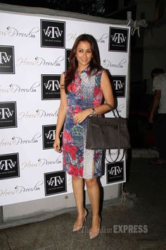 Gayatri Joshi looked pretty in a knee-length floral dress at Twinkle Khanna's store, 'The White Window'. #Style #Bollywood #Fashion #Beauty