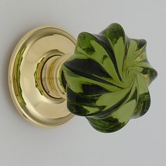 Hand crafted Glass peridot green whirl door handles with a brass rose available from Snobs Knobs Bespoke Section Old Door Knobs, Door Knobs And Knockers, Glass Door Knobs, Cupboard Knobs, Knobs And Handles, Knobs And Pulls, Door Handles, Door Pulls, Vintage Door Knobs