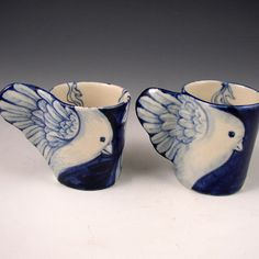 Porcelain bird cup pair in blue and white ( Etsy:: http://www.etsy.com/transaction/58240393# )