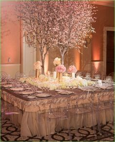 wedding tablescape: cherry blossom tree, lucite chairs