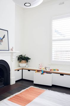 How to Create a Kid-Friendly Living Room. Stylish toy storage for kids in the living room Living Room Toy Storage, Living Room Decor, Kids Playroom Storage, Playroom Design, Ikea Toy Storage, Living Room Playroom, Storage For Toys, Playroom Lounge, Children Storage