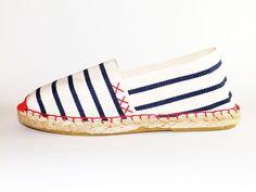 Sailor stripes flat Espadrilles. Organic cotton Canvas espadrilles Alpargatas made in Spain