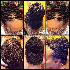 Ghana braid updo on natural hair