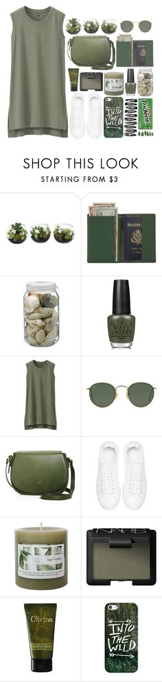 """Into the wild"" by perfectharry ❤ liked on Polyvore featuring Royce Leather, La Ligne, OPI, Uniqlo, Ray-Ban, Angela Roi, Anine Bing, Threshold, NARS Cosmetics and Olivina"