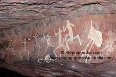 aboriginal rock art in cave at gundabooka national aprk nsw outback australia
