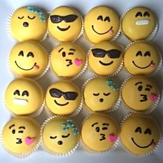 Emoji Cake Balls. To make your own like this, use white dipping chocolate with yellow chocolate coloring. For delicious dipping chocolate, use Chocoley Bada Bing Bada Boom Gourmet Compound Dipping Chocolate https://www.chocoley.com/bada-bing-bada-boom-dipping-coating-formula-white-1lb-bag/