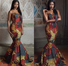 Items similar to African Print Strapless Prom Dress - Mermaid Train -Prom Dress Ankara - African Dress - Handmade - Africa Clothing - African Fashion on Etsy African Fashion Designers, African Print Fashion, Africa Fashion, African Prints, African Fabric, African Attire, African Wear, African Dress, African Style
