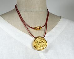 Red leather necklace Chunky gold pendant necklace by ShopPretties, $65.00