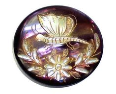 Antique Dyed Pearl Button Carved Butterfly Floral Spray Gold Luster Iridescent M