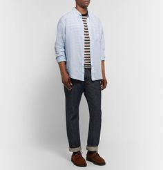 Club Monaco Slim-fit Button-down Collar Puppytooth Linen Shirt In Blue Button Down Collar, Button Downs, Club Monaco, Dress Up, Slim, Mens Fashion, Fitness, Casual, T Shirt