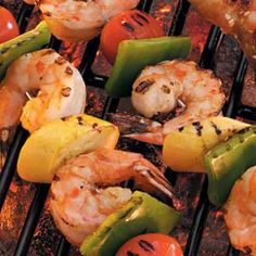 grilled shrimp and veggie kabobs- yum!