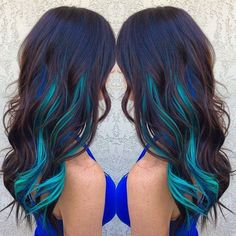 Brown Hair WIth Blue and Turquoise Streaks Hair Colors Ideas ❤ liked on Polyvore featuring beauty products, haircare, hair color and hair
