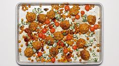 Sheet Pan Chicken Meatballs with Tomatoes and Chickpeas Recipe | Bon Appetit