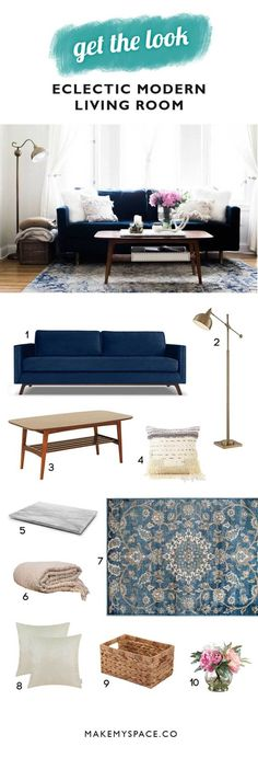 home-decor-eclectic modern navy living room