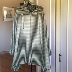 STRIPED HI/LO JACKET 3/4 SLEEVE HUNTER GREEN/CAMEL Stripes perfectly lined and matched, zipped front, small belt in back with hood.  Great color combination, long enough to be worn with leggings looks great with white. Made of polyester and spandex. For Cynthia Tops Sweatshirts & Hoodies
