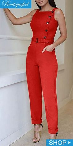 Sleeveless Solid Color Button Design Jumpsuit is part of Jumpsuit fashion - Casual Work Outfits, Work Attire, Classy Outfits, Chic Outfits, Fashion Wear, Fashion Pants, Fashion Outfits, African Fashion Dresses, Classy Dress