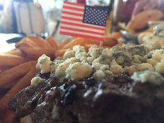 Grass-fed Cobb salad burger includes blue cheese, red onion, bacon, avocado, mayo, and bib lettuce. Whoa-so-good!!!
