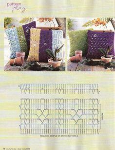 "Photo from album ""Подушки"" on Yandex. Crochet Chart, Crochet Granny, Crochet Stitches, Stitch Patterns, Crochet Patterns, Crochet Ideas, Crochet Home Decor, Cute Crochet, Iphone"