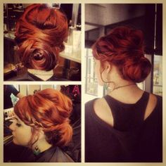 Aveda Institute Nashville beauty school student Chelsea W. did this rose inspired up-do on her classmate Annie!  #Updo #RedHair #BeautySchool