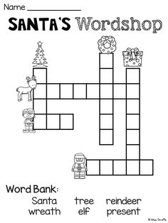 FREE Christmas worksheets that are a lot of fun! Christmas crossword