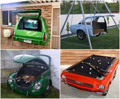 Auto recycles...really cool ideas...outdoor TV... swing...BBQ ...pool table