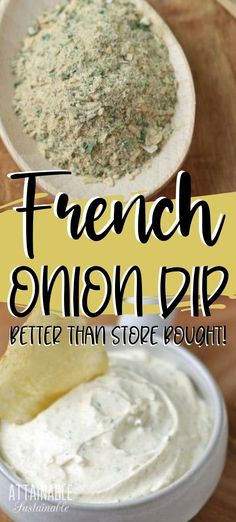 This homemade French onion dip recipe is perfect for holiday celebrations and tailgate parties. This DIY version makes your favorite snack a bit healthier. Dip your favorite chip, crudites, or spread it inside a sandwich wrap! Dip Recipes, Real Food Recipes, Snack Recipes, Cooking Recipes, Yummy Food, Copycat Recipes, Homemade Spices, Homemade Dips For Chips, Homemade Chip Dip