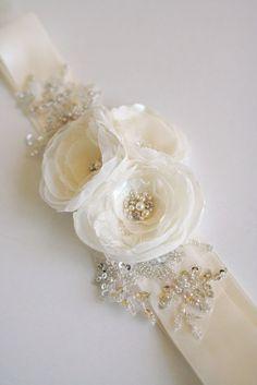 Ivory Bridal Sash Floral Sash Belt Wedding Bridal by BelleBlooms