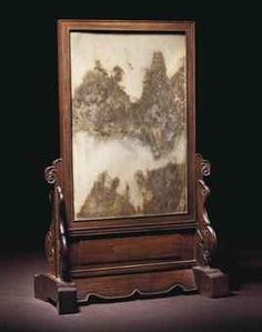 A MARBLE-INSET HONGMU TABLE SCREEN, XIAOZUOPINGFENG