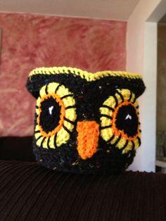 Handmade crochet Halloween treat bowl