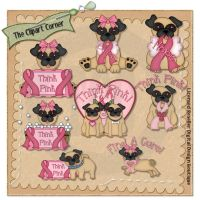 Breast Cancer Awareness Pugs Clip Art Hang Tags, Breast Cancer Awareness, Digital Scrapbooking, Pugs, Screen Printing, Minnie Mouse, Greeting Cards, Paper Crafts, Clip Art