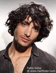 Long men's hairstyle with curls and waves. http://www.hairfinder.com/hairstyles3/2012haircuts7.htm