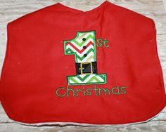 First Christmas Baby Bib-Personalized Baby by AddiesThings on Etsy