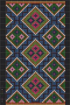 Bild från arbetsritning - Rutverk från Torna härad Animal Rug, Crochet Rope, Barbie House, Bargello, Dollhouses, Needlework, Bohemian Rug, Weaving, Cross Stitch