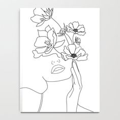 Minimal Line Art Woman with Flowers Notebook by Nadja - x Lined Line Art Flowers, Notebook Drawing, Outline Art, Tumblr Art, Silhouette Painting, Bright Art, Mini Canvas Art, Nature Drawing, Pressed Flower Art