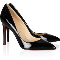 Christian Louboutin Pigalle 100 patent-leather pumps ($625) ❤ liked on Polyvore