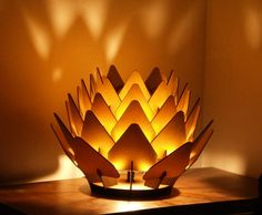 Cynara Table Lamp geometric wood sculpture accent by SectorXero, $180.00