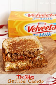 Tex Mex Grilled Cheese ~ Spice up your grilled cheese! The Velveeta makes the grilled cheese! I may never make regular grilled cheese again! Grill Cheese Sandwich Recipes, Soup And Sandwich, Grilled Sandwich, Cheese Recipes, Cheese Burger, Mexican Food Recipes, Beef Recipes, Cooking Recipes, Dinner Recipes