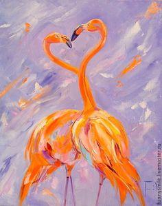 Любовь цвета фламинго. Картина маслом. - фламинго,картина,Живопись,валерия меценатова