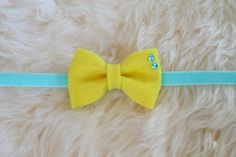 Easter and spring headband! Bright Yellow Felt Bow on an Aqua Velvet Headband by sparkleandspiceshop