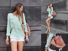 Get this look: http://lb.nu/look/5110248  More looks by Nina @  www.helloshopping.de: http://lb.nu/helloshopping  Items in this look:  Equipment Silk Blouse, Zara Shorts, Mango Sandals, Bali Handmade Beach Bag   #silk #shorts #sandals #beach