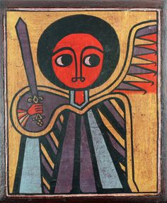 traditional ethiopian and african paintings and folk art at st. Religious Images, Religious Icons, Religious Art, African Artwork, African Paintings, Art Beauté, Saint George And The Dragon, Saint Michel, Arte Popular