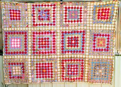 Vintage Homemade Quilts Red PRIMITIVE POSTAGE STAMP by QuiltsSale, $189.99