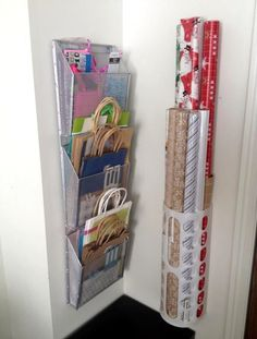 gift bag organization is genius Organized Wrapping Station Gift bags Tissue Wrapping Paper Ribbon DIY home storage organizationThe gift bag organization is genius Organ.