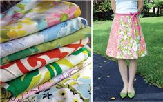 upcycle skirts from old sheets -- cute vintage-style wrap dress!