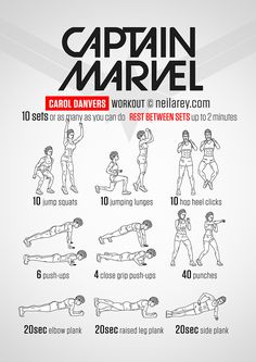 Captain Marvel workout 3 sets 60 120 120 seconds