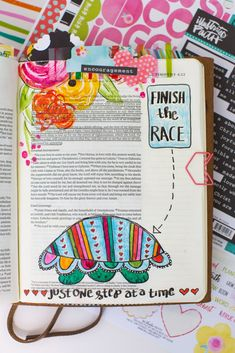 step by step drawing and watercolor process for drawing a turtle Bible journaling entry | Finish The Race - 2 Timothy 4:6 by Amy Bruce