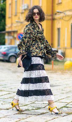 street style look com saia midi